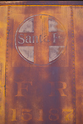side of an abandoned freight car in Santa Fe, NM