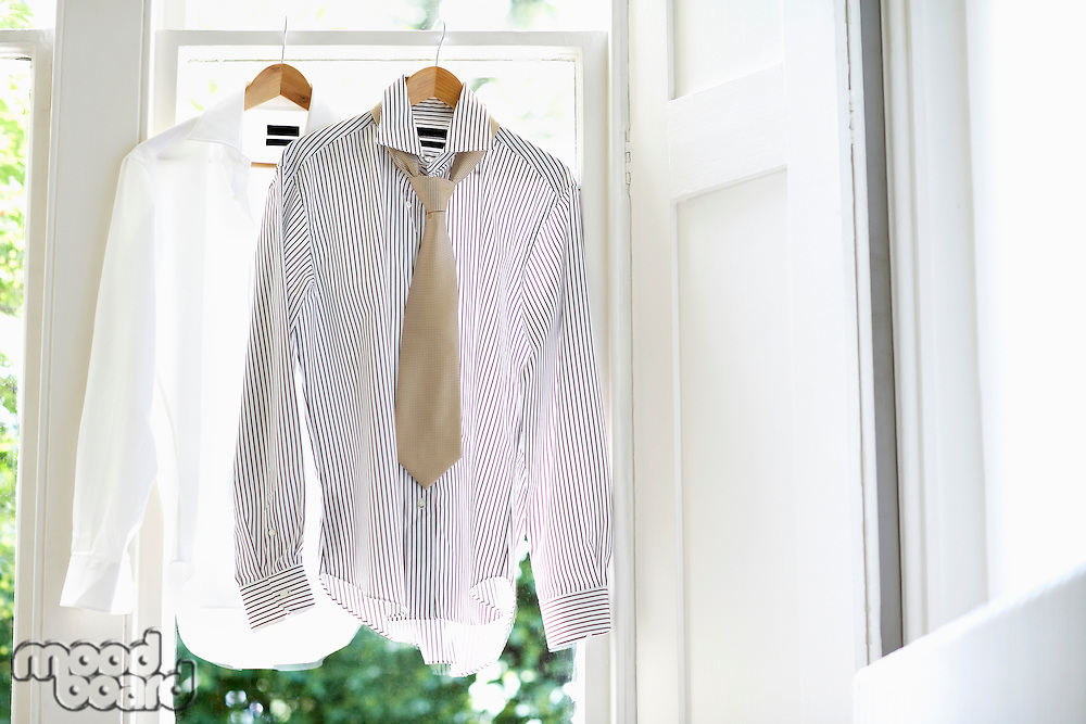 Two Dress Shirts on Hangers in domestic window