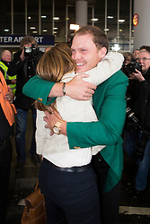© Licensed to London News Pictures. 12/04/2016. Manchester UK. US Masters champion Danny Willett arrives back in Britain at Manchester Airport this morning after scooping the £1.8M top prize in Augusta. Photo credit: Andrew McCaren/LNP