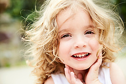 Close up Portrait of Young Girl Smiling