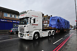 © Licensed to London News Pictures. 12/11/2016<br /> The damaged Croydon tram in transport along West Wickham, High Street this morning.<br /> Recovery work continues tonight as people lay flowers in Addiscombe Road at the scene of the Croydon tram crash at Sandilands,Croydon.