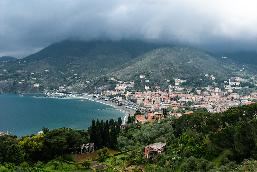 Clouds hover over the town of Levanto, Italy.