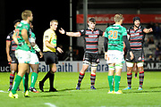 Edinburgh players dispute referee's decision during the Guinness Pro 14 2017_18 match between Edinburgh Rugby and Benetton Treviso at Myreside Stadium, Edinburgh, Scotland on 15 September 2017. Photo by Kevin Murray.