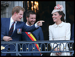 Image licensed to i-Images Picture Agency. 04/08/2014. Mons, Belgium .The Duchess of Cambridge and Prince Harry on the balcony of Mons Town Hall in Belgium during a reception as part of series of events to commemorate  the 100th anniversary of the start of the First World War. Picture by Stephen Lock / i-Images