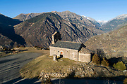 Sant Quirc de Durro chapel, an isolated Romanesque chapel built 12th century, in Durro, in La Vall de Boi, Lleida, Catalonia, Spain. It is dedicated to St Cyr of Tarse, son of St Julietta, martyred in 304 AD. The simple chapel, with single nave and semicircular apse, served as a mountain hermitage. The chapel is listed as a UNESCO World Heritage Site as part of the Catalan Romanesque Churches of the Vall de Boi. Picture by Manuel Cohen