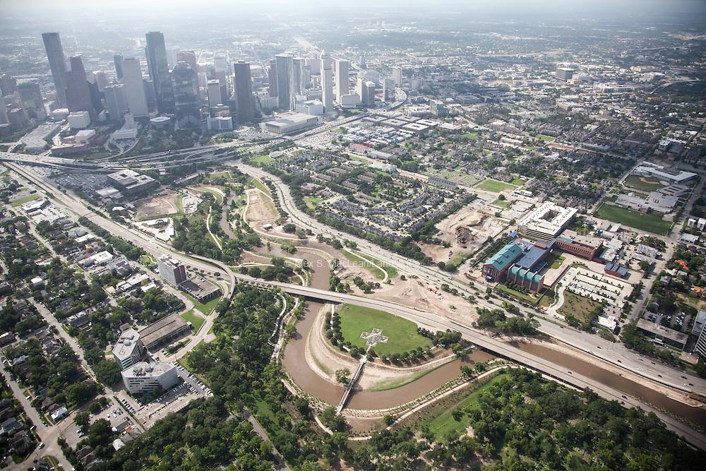 Buffalo Bayou meanders toward downtown Houston
