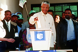 ANC President Nelson Mandela casts his vote in the black township of Oshlange, near Durban, in the first all race elections.
