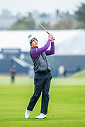 Victor Perez plays his second shot to the green on the 3rd hole during the final round of the Alfred Dunhill Links Championship European Tour at St Andrews, West Sands, Scotland on 29 September 2019.