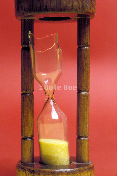 close up of a broken hourglass