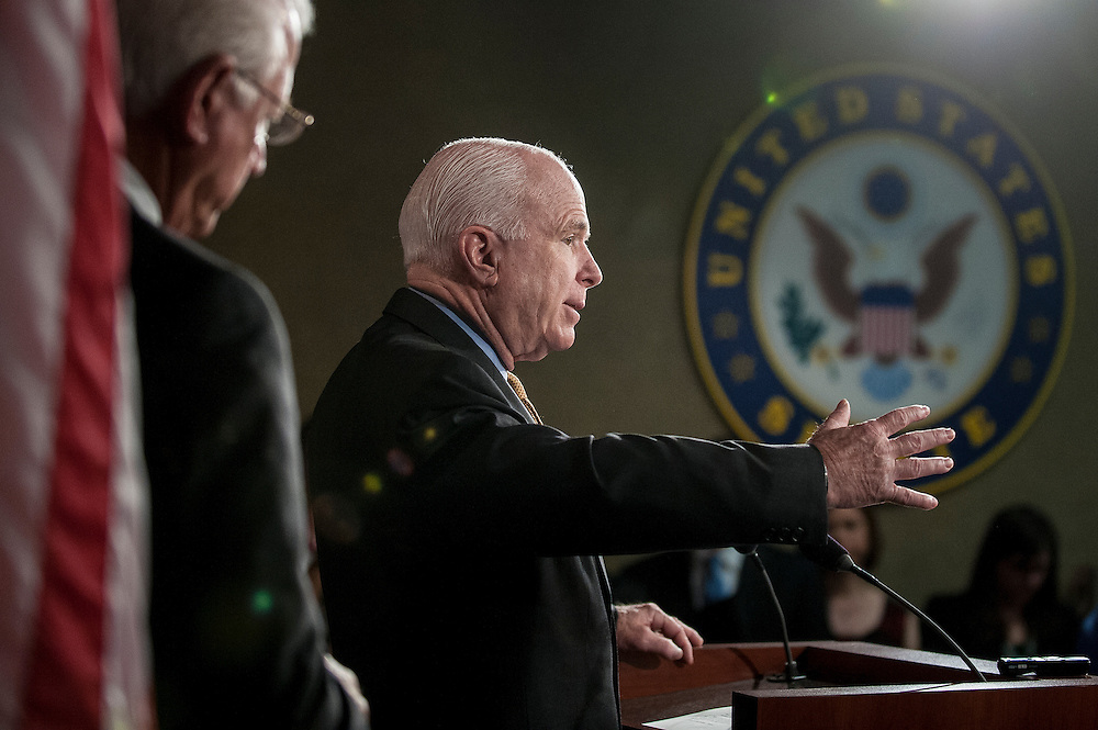 Senator JOHN MCCAIN (R-AZ) speaks to the media on Capitol Hill Tuesday during a news conference to discuss recent the national security leaks and to call for an independent council to investigate.