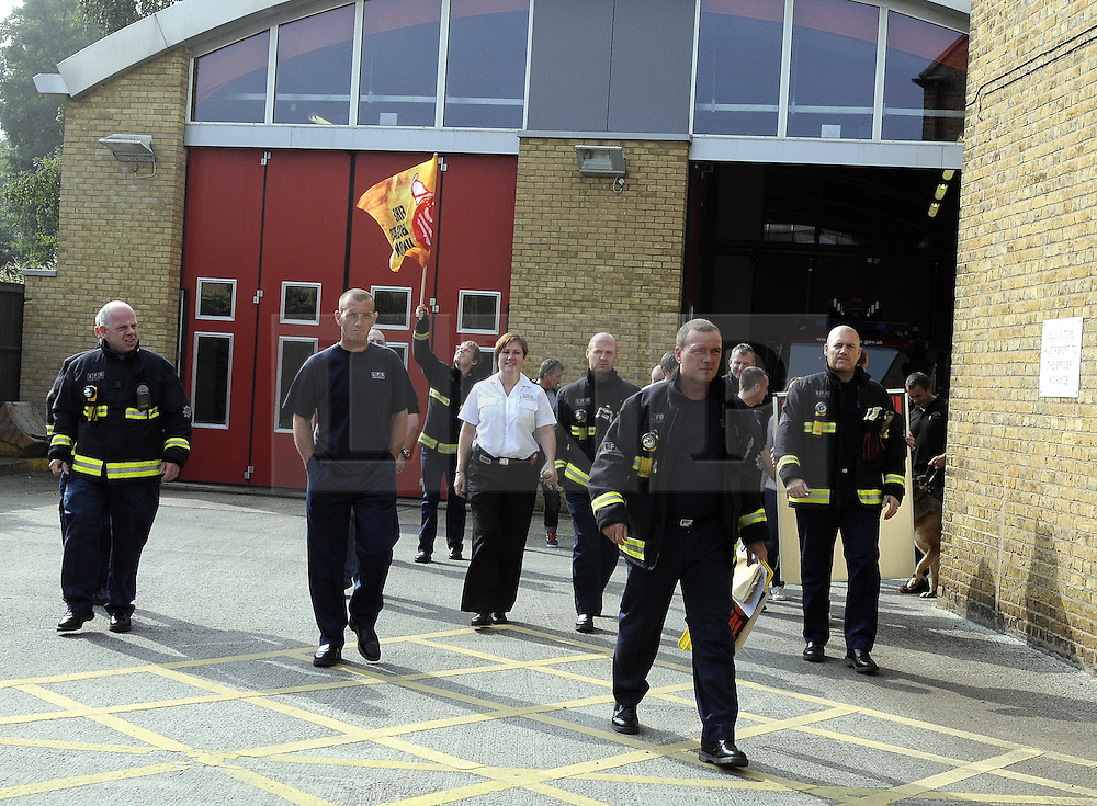 &copy; Licensed to London News Pictures. 25/09/2013<br /> London Firefighters Strike, Sidcup Firefighters in Sidcup, Kent South East London (border) taking strike action,  walking out of their fire station.<br /> UK Firefighters today (25.09.2013) walked out of fire stations at noon for 4 hours in a battle over pensions.<br /> Photo credit :Grant Falvey/LNP