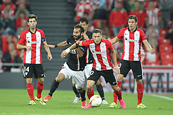 17.09.2015, Estadio San Mames, Bilbao, ESP, UEFA EL, Athletic Club vs FC Augsburg, Gruppe L, im Bild l-r: im Zweikampf, Aktion, mit Halil Altintop #7 (FC Augsburg) und Oscar de Marcos #10 (Athletic Bilbao) // during UEFA Europa League group L match between Athletic Club Bilbao and FC Augsburg at the Estadio San Mames in Bilbao, Spain on 2015/09/17. EXPA Pictures &copy; 2015, PhotoCredit: EXPA/ Eibner-Pressefoto/ Kolbert<br /> <br /> *****ATTENTION - OUT of GER*****