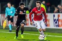 ALKMAAR - 16-02-2017, AZ - Olympique Lyon, AFAS Stadion, Olympique Lyon speler Nabil Fekir, AZ speler Muamer Tankovic