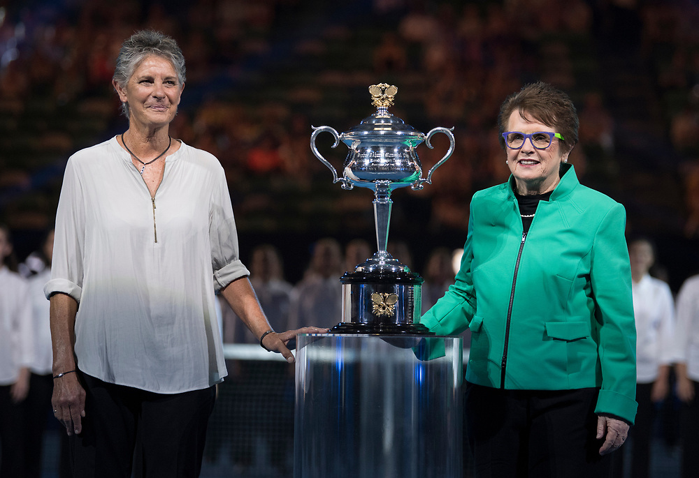 Billie Jean King during the 2018 Australian Open on day 13 in Melbourne, Australia on Friday night January 27, 2018.<br /> (Ben Solomon/Tennis Australia)