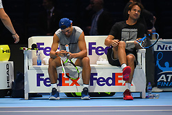 November 10, 2017 - London, England, United Kingdom - Rafael Nadal of Spain (L) and Carlos Moya speak before a training session prior to the Nitto ATP World Tour Finals at O2 Arena, London on November 10, 2017. (Credit Image: © Alberto Pezzali/NurPhoto via ZUMA Press)