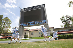 19 April 2008: North Carolina men's lacrosse goalkeeper Andrew Moss (7) during halftime while playing the Hofstra Pride at Kenan Stadium in Chapel Hill, NC.
