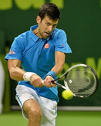 DOHA, Jan. 8, 2017  Novak Djokovic of Serbia returns to Andy Murray of Britain during the men's singles final of the ATP Qatar Open tennis tournament at the Khalifa International Tennis Complex in Doha, capital of Qatar, on Jan. 7, 2017. Djokovic won 2-1 to claim the title. (Credit Image: © Nikku/Xinhua via ZUMA Wire)