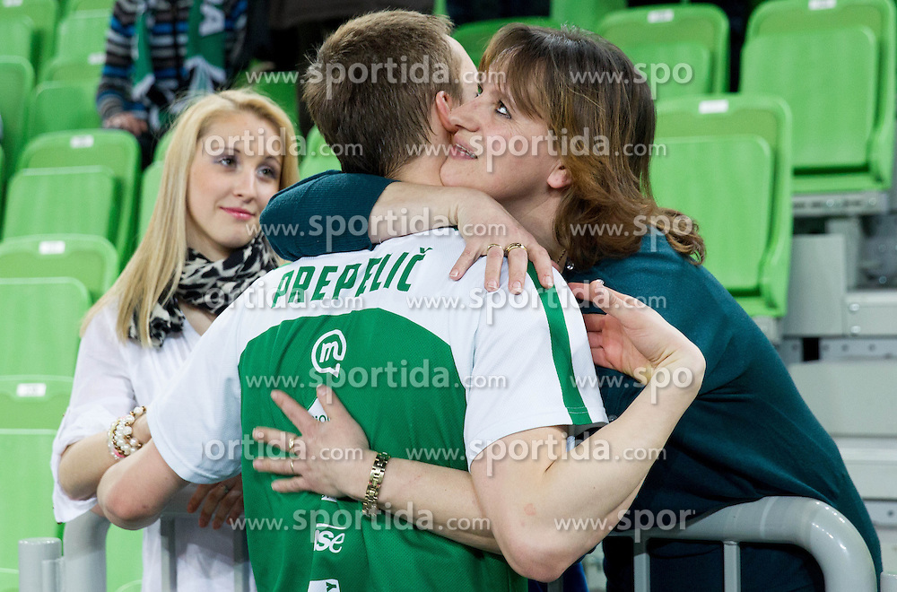 Klemen Prepelic of Union Olimpija with his mother and girlfriend after the basketball match between KK Union Olimpija and Siroki Brijeg Wwin in 25th Round of ABA League 2012/13, on March 15, 2013 in Arena Stozice, Ljubljana, Slovenia. Siroki defeated Union Olimpija 85-82. (Photo by Vid Ponikvar / Sportida.com)