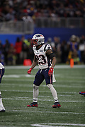 New England Patriots strong safety Patrick Chung (23) in action during the NFL Super Bowl 53 football game against the Los Angeles Rams on Sunday, Feb. 3, 2019, in Atlanta. The Patriots defeated the Rams 13-3. (©Paul Anthony Spinelli)