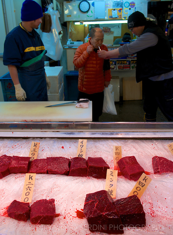 Accordingly, the only whale meat I have found on sale on the day. There is a big debate and campaign against whaling and Japanese consumption of whale meat. I could not find any in restaurants' menus. Tokyo Tsukiji Market. Japan, 2013