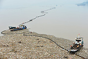 YICHANG, CHINA - SEPTEMBER 25: (CHINA OUT) <br /> <br /> Garbage Floats Near Three Gorges Dam <br /> <br /> Garbage float on the water near the Three Gorges Dam on September 25, 2014 in Yichang, Hubei province of China. A garbage patch appeared on water near the Three Gorges Dam due to torrential rains and floods. <br /> ©Exclusivepix