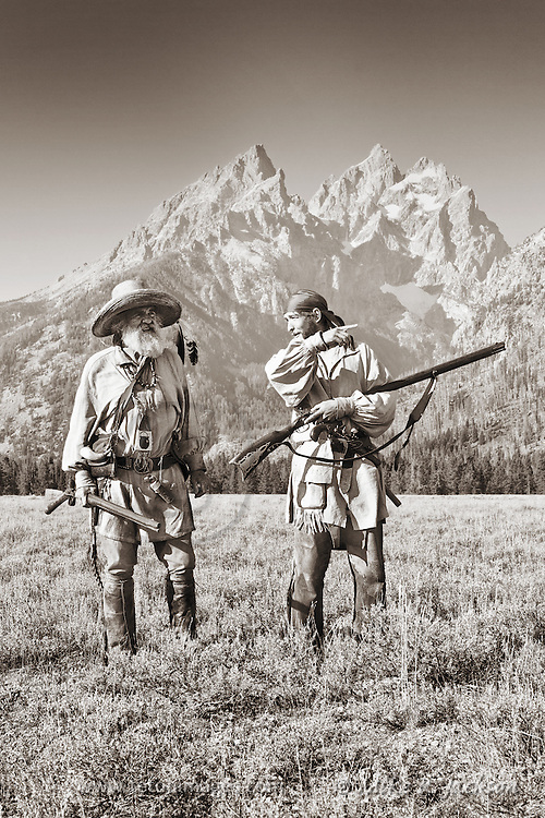 Mountain Man and apprentice in the Grand Teton valley, setting traps and hunting along the streams and creeks.