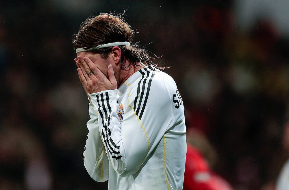 Real Madrid's Sergio Ramos, reacts during a Spanish La Liga soccer match against Sevilla at the Santiago Bernabeu stadium, Saturday, March 6, 2010.