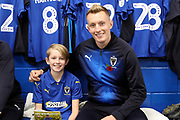 mascot and AFC Wimbledon striker Joe Pigott (39) during the EFL Sky Bet League 1 match between AFC Wimbledon and Shrewsbury Town at the Cherry Red Records Stadium, Kingston, England on 3 November 2018.