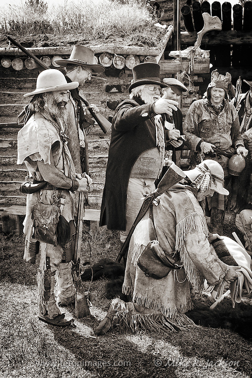 Trappers and traders making a deal at one of the historic Mountain Man Rendezvous in southern Wyoming. Photo taken at historic Fort Bridger.