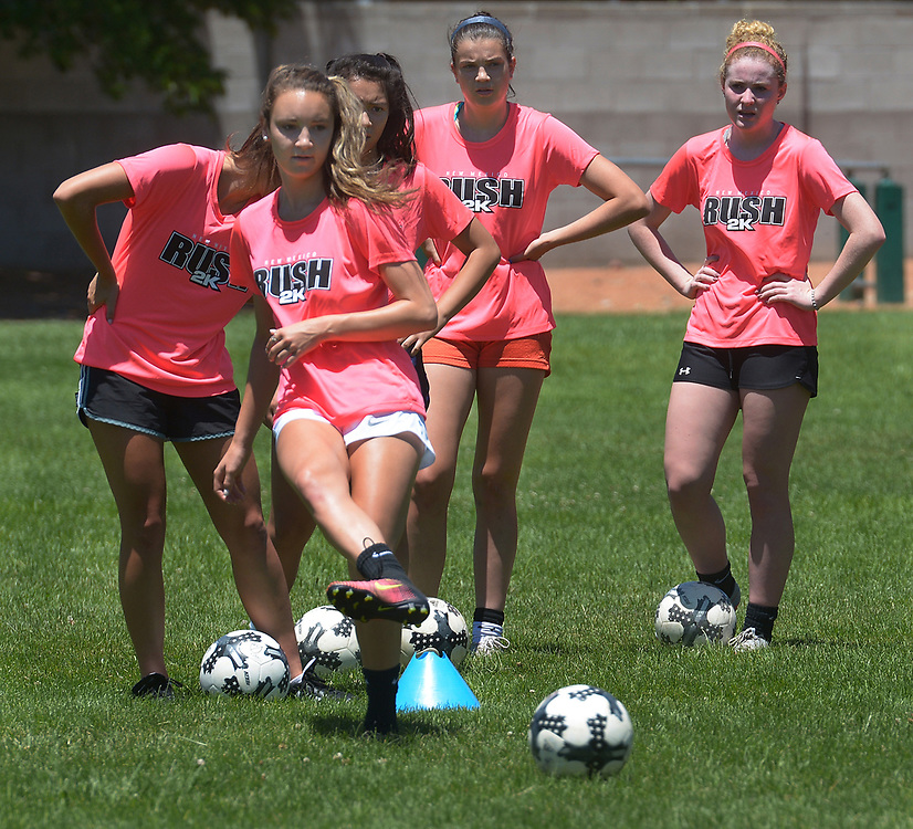 gbs061517f/SPORTS -- Brianna Martinez kicks the the ball during practice on Thursday, June 15, 2017.  She is with the New Mexico Rush U-18 team and is a national team member. (Greg Sorber/Albuquerque Journal)