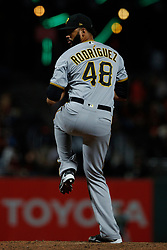 SAN FRANCISCO, CA - AUGUST 10: Richard Rodriguez #48 of the Pittsburgh Pirates pitches against the San Francisco Giants during the eighth inning at AT&T Park on August 10, 2018 in San Francisco, California. The San Francisco Giants defeated the Pittsburgh Pirates 13-10. (Photo by Jason O. Watson/Getty Images) *** Local Caption *** Richard Rodriguez