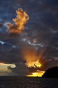 Sunset over Saltpond Bay.  Virgin Islands National Park.  St. John, U.S. Virgin Islands.