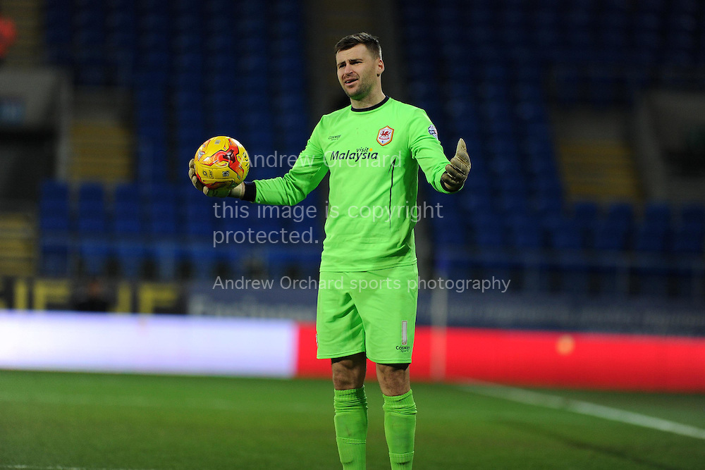 Cardiff city goalkeeper David Marshall shows his frustration. Skybet football league championship match, Cardiff city v Brighton &amp; Hove Albion at the Cardiff city Stadium in Cardiff, South Wales on Tuesday 10th Feb 2015.<br /> pic by Andrew Orchard, Andrew Orchard sports photography.