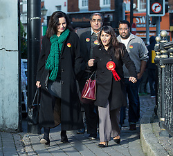 © Licensed to London News Pictures . 20/11/2014 . Kent , UK . ) . Caroline Flint , Shadow Secretary of State for Energy and Climate Change and Labour candidate Naushabah Khan , out campaigning in Rochester  . The Rochester and Strood by-election campaign following the defection of sitting MP Mark Reckless from Conservative to UKIP . Photo credit : Joel Goodman/LNP