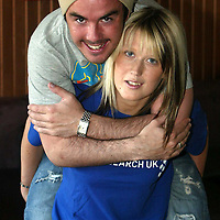 St Johnstone player Stephen McConalogue who is supporting cancer research by allowing himself to be auctioned off at a charity night in Perth's That Bar next week, he is pictured with organiser Fiona Thomson.<br />