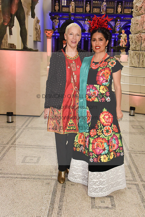 "Annie Lennox and Salma Hayek at the opening of ""Frida Kahlo: Making Her Self Up"" Exhibition at the V&A Museum, London England. 13 June 2018."
