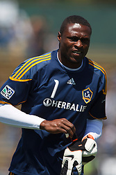 August 21, 2010; Santa Clara, CA, USA;  Los Angeles Galaxy goalkeeper Donovan Ricketts (1) warms up before the game against the San Jose Earthquakes at Buck Shaw Stadium.