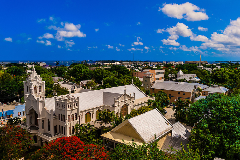Overview looking to St. Paul's Episcopal Church , Key West, Florida Keys, Florida USA