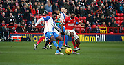 Blackburn Rovers midfielder, Hope Akpan (21) battling for the ball with Charlton Athletic defender, Zakarya Bergdich (19) during the Sky Bet Championship match between Charlton Athletic and Blackburn Rovers at The Valley, London, England on 23 January 2016. Photo by Matthew Redman.