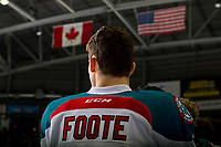 KELOWNA, CANADA - DECEMBER 29:  Nolan Foote #29 of the Kelowna Rockets stands on the bench for the national anthem against the Kamloops Blazers on December 29, 2018 at Prospera Place in Kelowna, British Columbia, Canada.  (Photo by Marissa Baecker/Shoot the Breeze)