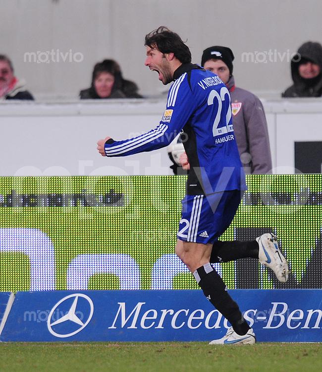 FUSSBALL  1. BUNDESLIGA  SAISON 2009/2010   22. Spieltag   13.02.2010 VfB Stuttgart - Hamburger SV  JUBEL; Ruud  Van Nistelrooy (HSV)
