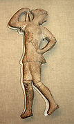 Terracotta plaque representing a girl dancing with castanets. Greek, about 450 BC Said to be from Melos, Greece.