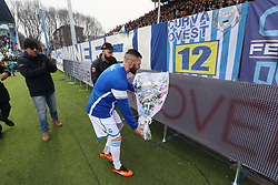 "Foto Filippo Rubin<br /> 06/01/2018 Ferrara (Italia)<br /> Sport Calcio<br /> Spal - Lazio - Campionato di calcio Serie A 2017/2018 - Stadio ""Paolo Mazza""<br /> Nella foto: MIRCO ANTENUCCI (SPAL) E WALTER MATTIOLI (PRESIDENTE SPAL) DEPONGONO UNA CORONA DI FIORI PER STEFANO MASSARENTI TIFOSO SPAL RECENTEMENTE SCOMPARSO<br /> <br /> Photo by Filippo Rubin<br /> January 06, 2018 Ferrara (Italy)<br /> Sport Soccer<br /> Spal vs Lazio - Italian Football Championship League A 2017/2018 - ""Paolo Mazza"" Stadium <br /> In the pic: MIRCO ANTENUCCI (SPAL) AND WALTER MATTIOLI WITH FLOWERS FOR A RECENTLY DEAD SPAL'S SUPPORTER"