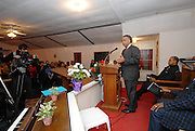 Rev. Sharpton gestures as he speaks to a crowd of about 60 gather at the Antioch baptist Church in JEna Louisiana Sunday Jan. 18, 2008.The town of Jena Louisiana rescheduled their Martin Luther King Holiday festivities from Monday to Sunday because the Nationalist Movement planned a march in Jena on MLK day.  Sharpton came to Jena the day before Martin Luther King holiday because the Nationalist Movement lead by Richard Barrett is to march on Jena Monday during MLK holiday. The Nationalist movement is coming to Jena in response to the Jena 6 rally last year. Sharpton was in Jena to protest the Jim Crow Justice still prevalent in the south. Sharpton discussed his feeling about MLK's legacy and how it should be celebrated and that their are still, today in the South many things to fight for, Equal Justice would be at the top of his list. Sharpton said you can not heal the community until justice is dealt with fairly, no white justice or black  justice -Equal Justice for all is what will heal the town of Jena.(Photo/© Suzi Altman)