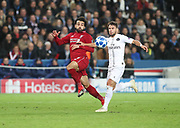 Mohamed Salah of Liverpool against Juan Bernat of Paris Saint-Germain during the Champions League group stage match between Paris Saint-Germain and Liverpool at Parc des Princes, Paris, France on 28 November 2018.