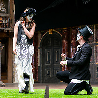 Romeo and Juliet by William Shakespeare;<br /> Directed by Daniel Kramer;<br /> Kirsty Bushell (as Juliet);<br /> Edward Hogg (as Romeo);<br /> Shakespeare's Globe Theatre, London, UK;<br /> 26 April 2017<br /> © Pete Jones<br />pete@pjproductions.co.uk