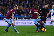 Michail Antonio of West Ham United (30) and Marko Arnautovic of West Ham United (7) in action during the Premier League match between Huddersfield Town and West Ham United at the John Smiths Stadium, Huddersfield, England on 10 November 2018.