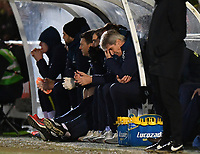 Football - 2018 / 2019 Emirates FA Cup - Fourth Round: AFC Wimbledon vs. West Ham United<br /> <br /> West Ham United manager Manuel Pellegrini dejected as AFC Wimbledon's Toby Sibbick scores his side's fourth goal, at Cherry Red Records Stadium (Kingsmeadow).<br /> <br /> COLORSPORT/ASHLEY WESTERN