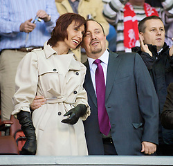 LIVERPOOL, ENGLAND - Thursday, May 14, 2009: Liverpool's manager Rafael Benitez and his wife Maria di Montserrat Benitez during the Hillsborough Memorial Charity Game at Anfield. (Photo by David Rawcliffe/Propaganda)