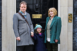 © Licensed to London News Pictures. 23/01/2020. London, UK. NAZANIN ZAGHARI-RATCLIFFE'S  husband RICHARD with his mother, BARBARA and daughter GABRIELLA on the steps of No 10 Downing Street. They will meet Prime Minister,BORIS JOHNSON to discuss about the release of NAZANIN. NAZANIN ZAGHARI-RATCLIFFE, a dual-national British-Iranian, has been in detention in Tehran since her arrest on 3 April 2016. She is accused of spying – a charge she denies. Photo credit: Dinendra Haria/LNP